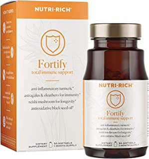Fortify Adaptogens for Immunity, Inflammation, Cell Damage | Curcumin, Black Seed Oil, Reishi Mushroom, Astragalus, Eleuthero