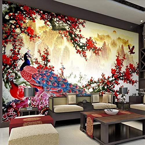 Aangepaste 3D wallpaper wandafbeeldingen wooncultuur woonkamer slaapkamer reuzenful landschap schilderij pruimen pruik Chinese wandafbeelding 350 × 245 cm.