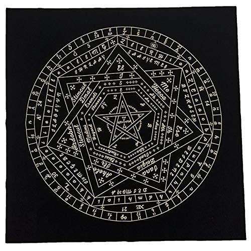 FEZBD Triple Moon Pentagram Altart Tuch, Weiche Flanell Tischdecke, Astrologie, Tarot-Weissagungskarte, Tischdecke Für Tarot-Enthusiasten, 60 * 60Cm,Schwarz