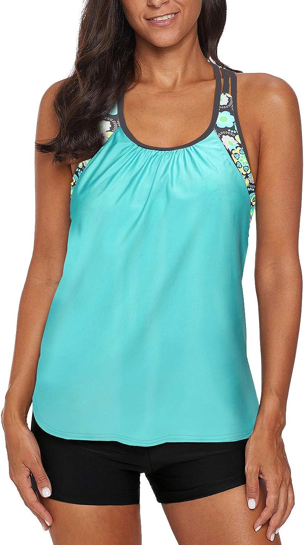 REKITA Women's Swimsuits Color Block Tankini Top Boyshort Swimwear