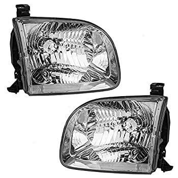 Aftermarket Replacement Driver and Passenger Side Halogen Headlight Assembly Set Compatible with 2001-2004 Sequoia & 2004 Tundra Double Cab