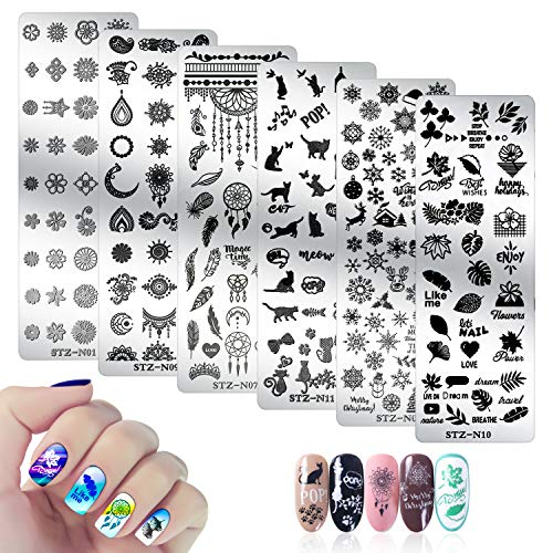 6Pcs Nail Stamping Plate, Mwoot Nail Art Plates Nagelstempel Maniküre Tool Kit, Feather Cat Christmas Snowflake Nagel Stamping Schablonen