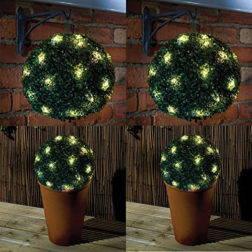 2 x 20 LED SOLAR POWERED TOPIARY BALL HANGING GARDEN LIGHT ORNAMENT