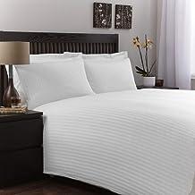 Luxury 300TC Cotton Satin Bed Sheet Set, Cotton King, White, W 40.4 x H 28.4 x L 3.8 cm