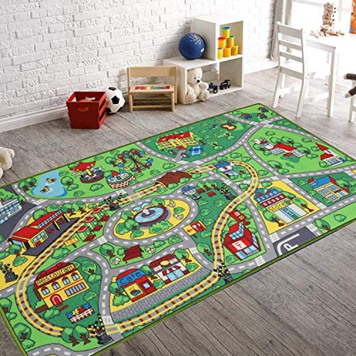 Kids Carpet Playmat Rug with Roads and Train Tracks Cool and Fun Area Rug Gift Kid Rug for Boys product image