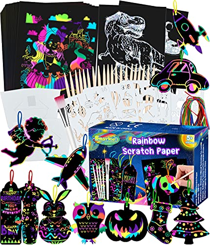 Smarkids Papel de Rascar para Niños, 143 Hojas de Rascar Colores con Lápiz de Madera, Manualidades para Niños, Regalo Creativo Kit de Manualidades de Papel de Arte de Rascar para Niños
