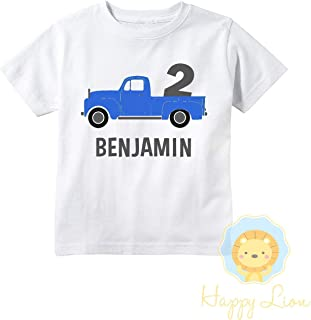 Happy Lion Clothing - Toddler Boys Blue Truck Birthday Personalized T-shirt