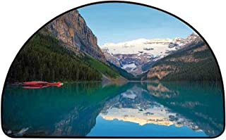 YOLIYANA Lake House Decor Semicircle Rug,Lake Louise with a Red Canoe Banff National Park Canada Wilderness Nature Picture Floor Mat,17.7