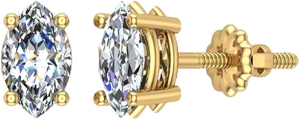 Diamond Popular Stud Earrings Max 65% OFF Marquise 14K Gold Cut