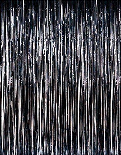 Set of 2 Black Metallic Foil Fringe Door & Window Curtain Party Decoration 3 X 8 (36 X 96) Value Pack of 2