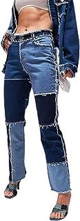 Carolilly Straight Jeans damesbroek met hoge taille, patchwork, damesjoggingbroek, push-up, kleurblok, denim broek voor da...