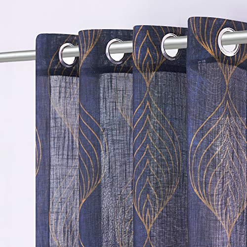 KGORGE Sheer Curtains Leaf Vein Curtains Sunlight Filtering Privacy Protected Geometry Window Treatments for Farmhouse Living Room Bedroom, Wide 52 x Long 63 inches, 2 Panels, Navy Blue