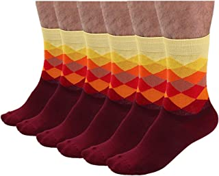 uxcell® Mens Dress Socks Argyle Colorful Rainbow Funky Crew Sock 6 Pairs