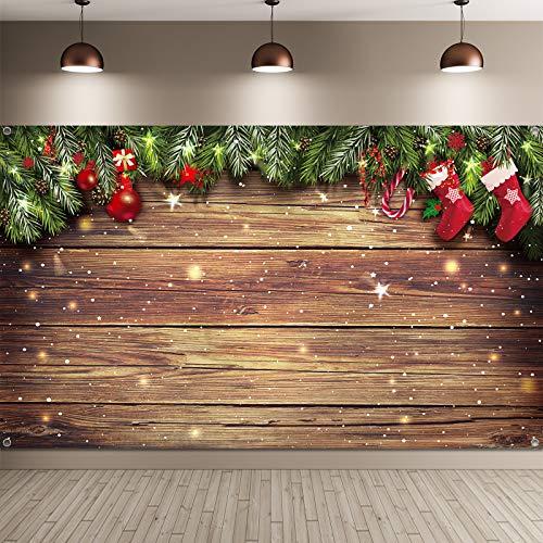 Fondo de Madera de Navidad Telón de Fondo de Fotos de Navidad Fondo de Navidad de Tela de Copo Nieve Brillante Telón Fondo Feliz Navidad para Decoración Fiesta Fotografía, 72,8 x 43,3 Pulgadas