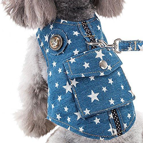 【Tona】犬ハーネス 猫ハーネス リード セット ペット用品 デニム 猫 小型犬 中型犬 服 牽引ロープ安全 調...