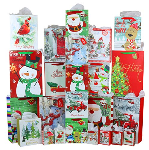 Iconikal Christmas Gift Bags with Tissue Paper, Rustic Style, 24 Bags, 40-Sheets of Tissue Paper