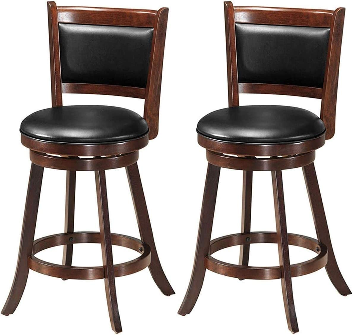 Sale price HAPPYGRILL Barstools Set mart of 2 Wooden Swivel Counter Back Height
