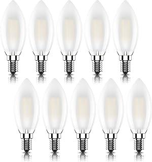 Kcwiau Bombillas Vela de Filamento LED E14 (Casquillo Fino),No Regulable,4W Equivalente a 40W, Mate vidrio,Lúmenes>400, Blanco Cálido 2700K,CRI>80,AC 220V,10Pack