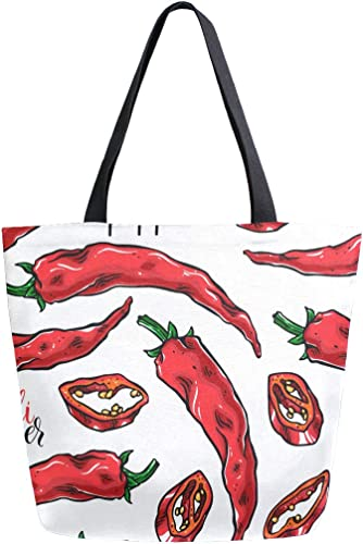 Cute Chili Peppers Canvas Tote Bag Tote Carrying Bag Shoulder Bag for Shopping Travel bag Reusable Grocery Bags