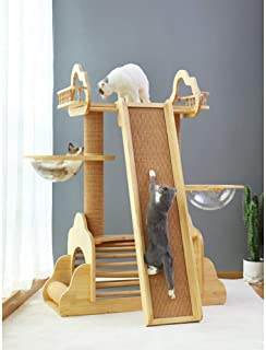 Cat Climbing Frame cat Litter cat Tree one Large Solid Wood cat Shelf Villa Space Capsule sisal Scratching Board cat Toy S...