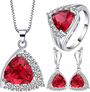 VPbao Plated 925 Sterling Silver CZ Stainless Steel Necklace Earrings Ring Set Red