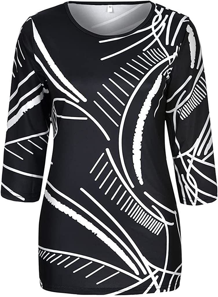 Women's Mid-Length Sleeves Tees Shirt Classic Retro Pattern Blouse Casual Loose Tunic Tops