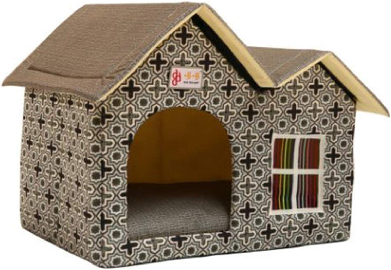 PLDDY Double Roof Pet Nest Cat Litter Breathable Comfort Washable Dirty Oxford Fabric Kennel Dog House Pet Nest Pet Bed, 55x40x42cm (color   D)
