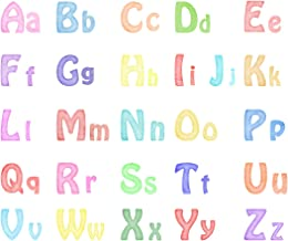 Alphabet Wall Decals Watercolor ABC Wall Decal Removable Letters Wall Stickers Children Kindergarten Educational Posters