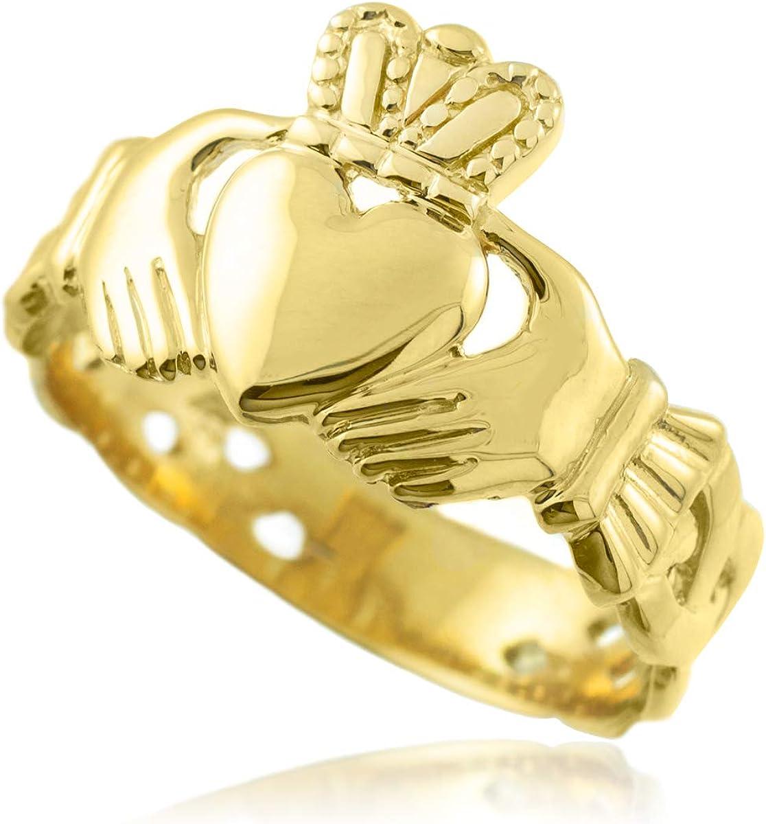 10k Gold Mens Claddagh Trinity Band Ring
