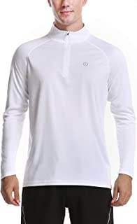 Mens Zip Pullover UPF 50+ Sun Protection Long Sleeve Hiking Fishing Outdoors Performance T-Shirt