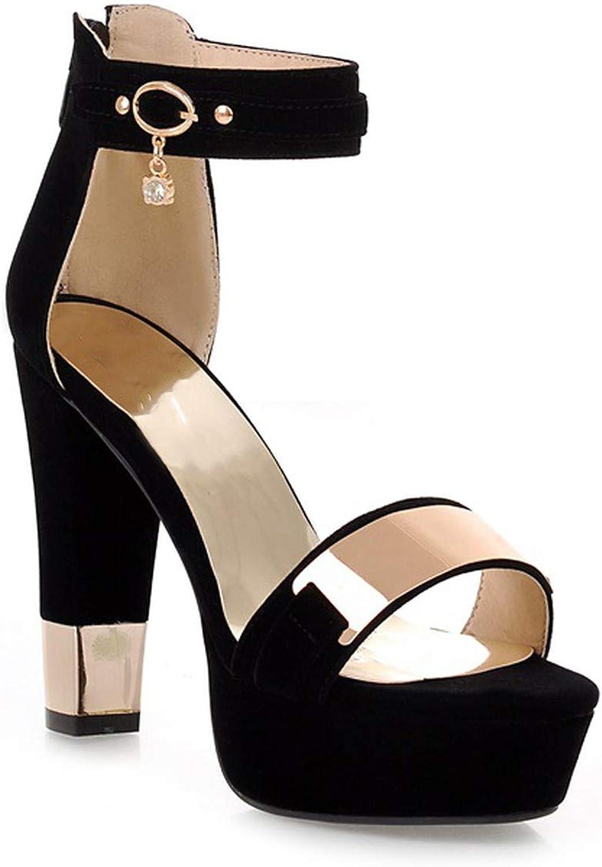 Summer Platform Sandals Women Ladies shoes Thick Heels Sandals High Heels Suede Sandals,Black,6