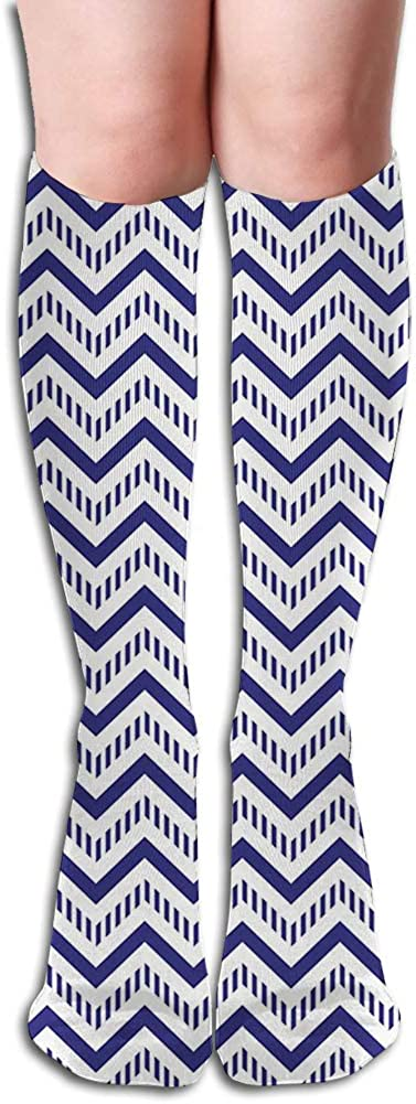 Men's and Women's Funny Casual Combed Cotton Socks,Geometrical Zig Zag Striped Pattern on White Background Modern Art Design
