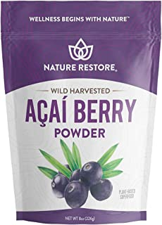 Wild Harvested Acai Berry Powder, 8 Ounces, Non GMO, Gluten Free, Brazilian Wild Grown