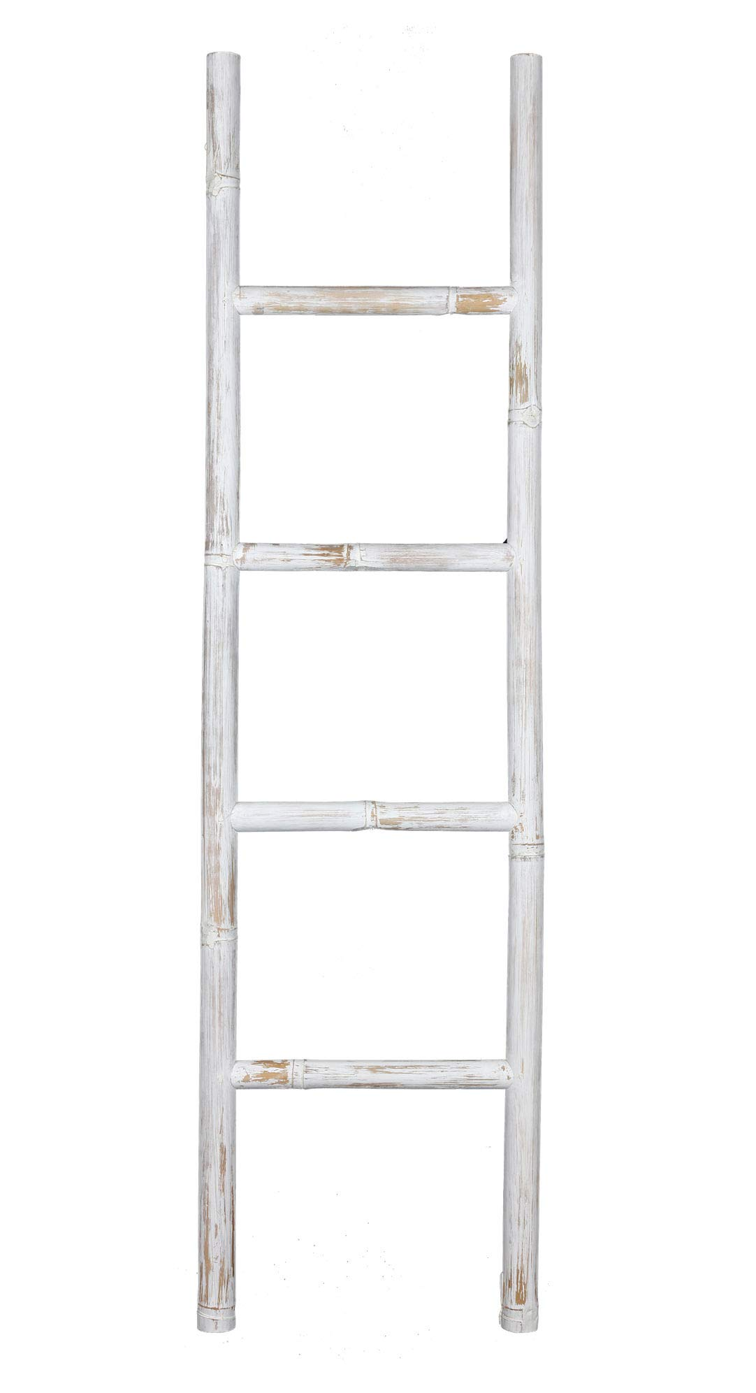 Escalera decorativa de bambú (150 x 40 cm), color blanco: Amazon.es: Hogar