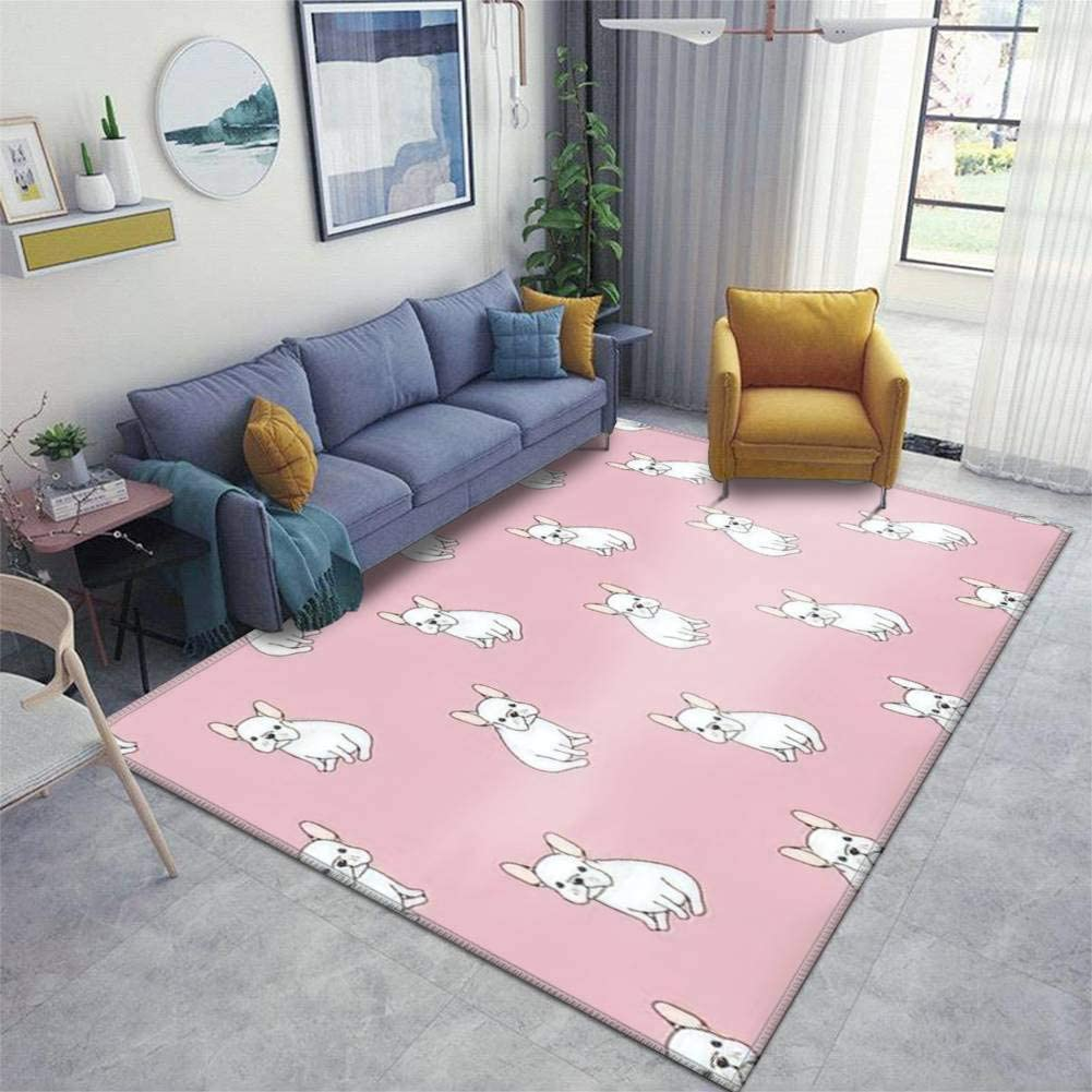 Elegant Limited price Dog icon French Bulldog Seamless Pink Sl Non Area Rugs Mat Floor