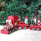 BAKAJI Trenino Natalizio in Legno con 4 Vagoni 24cm Rosso e Bianco Addobbi e Decorazioni Natale
