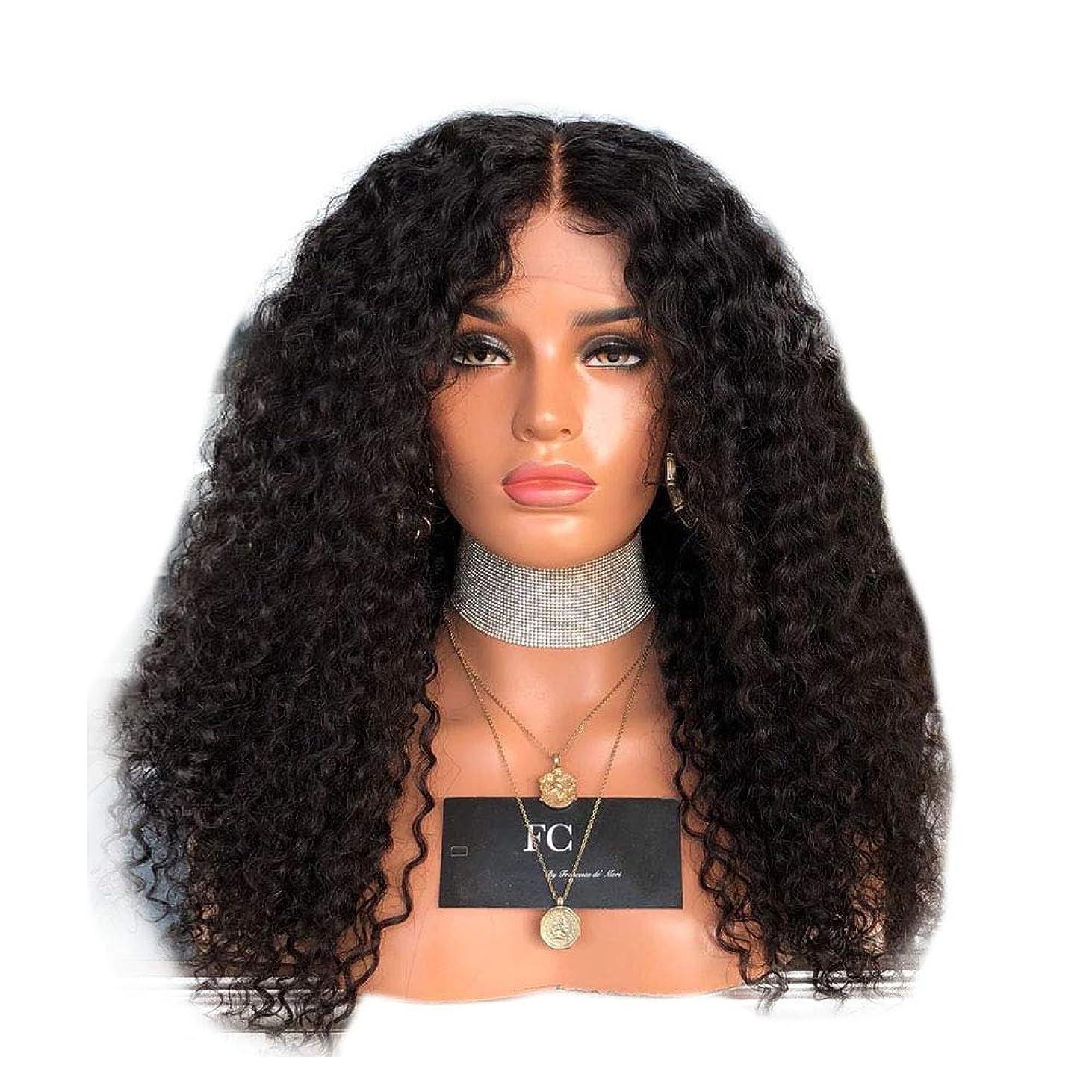 ゴールドボウリング百科事典Yrattary 女性の黒の長い巻き毛のフロントレースかつらアフリカの黒のかつら合成髪のレースのかつらロールプレイングかつら (色 : 黒, サイズ : 18 inches)