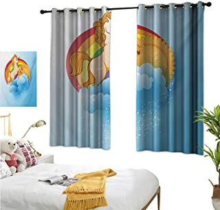 """RuppertTextile Customized Curtains Handsome Unicorn with Single Horn on Forehead on Sun Fluffy Clouds Artwork Print 63"""" Wx45 L, Darkening and Thermal Insulating"""