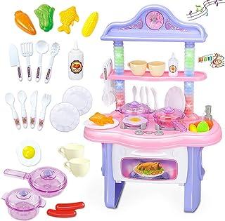 AthnaL おままごと キッチンセット ままごと 豪華セット 収納可能 調理器具 食器 食べ物付き 10曲の音楽に楽しめます ごっこ遊び