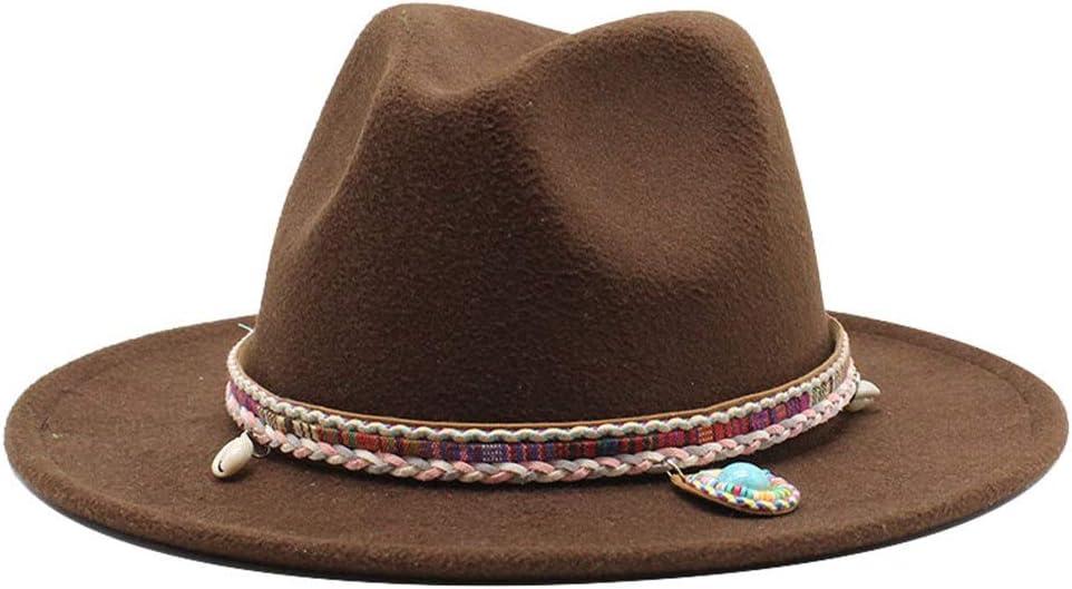 no-branded Ladies Men's Cotton Wide Brim Hat Retro Jazz Fedora Hat Couple Hat Winter Elegant Panama Hat Woven Tassel ZRZZUS (Color : Dark Coffee, Size : 59-61cm)