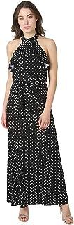 bebe Women's Cold Shoulder Ruffle Overlay Polka Dots Printed Hammer Satin Flowy Chic Dress