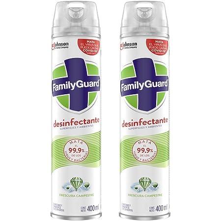 Family Guard Family Guard Desinfectante De Superficies Y Ambientes Frescura Campestre En Aerosol 400 Ml C/u, color, 2 ml, pack of/paquete de