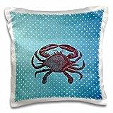 3dRose rot Krabbe Blau Polka Dots Strand Thema Art-Pillow