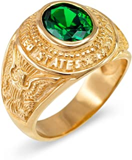May CZ Birthstone US Army Men's Ring in Solid 10k Yellow Gold