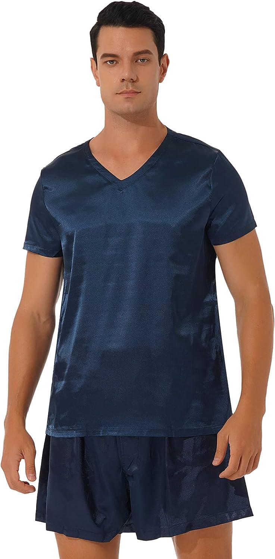 YiZYiF 2PCS Mens Pajamas Set Satin Short Sleeve Lightweight Soft Sleepwear Loungewear
