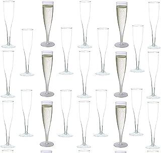 white plastic champagne flutes