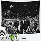 DESIHOM Starry Night Tapestry Mountain Tapestry Moon and Stars Tapestry Black and White Wall Tapestry for Bedroom Living Room Dorm Decor 59x51 Inch