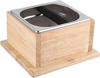 Café Knock Box, comptoir en acier inoxydable Coffee Ground Knock Container Bucket Box avec base en bois pour la maison, café