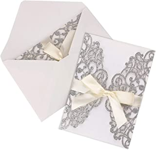 Driew Wedding Invitations with Envelopes, 12 pcs Laser Cut White Invitations with Ribbon for Wedding Engagement Bridal Baby Shower Business Event Shimmer Elegant Chic Rustic (Silver)