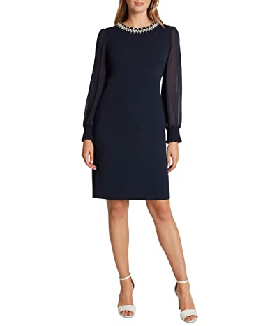 Tahari by ASL Petite Stretch Scuba Crepe Sheath with Pearl Necklace Detail (Navy) Women
